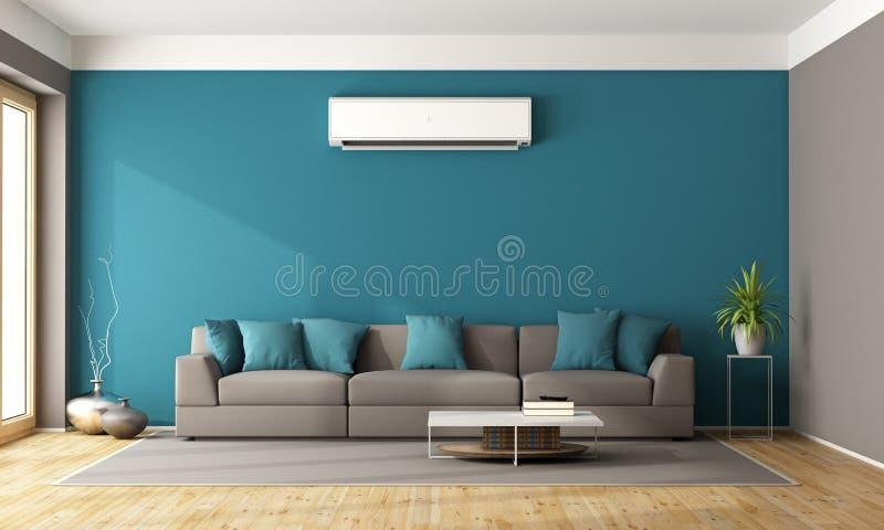 有空调器的现代客厅 库存例证