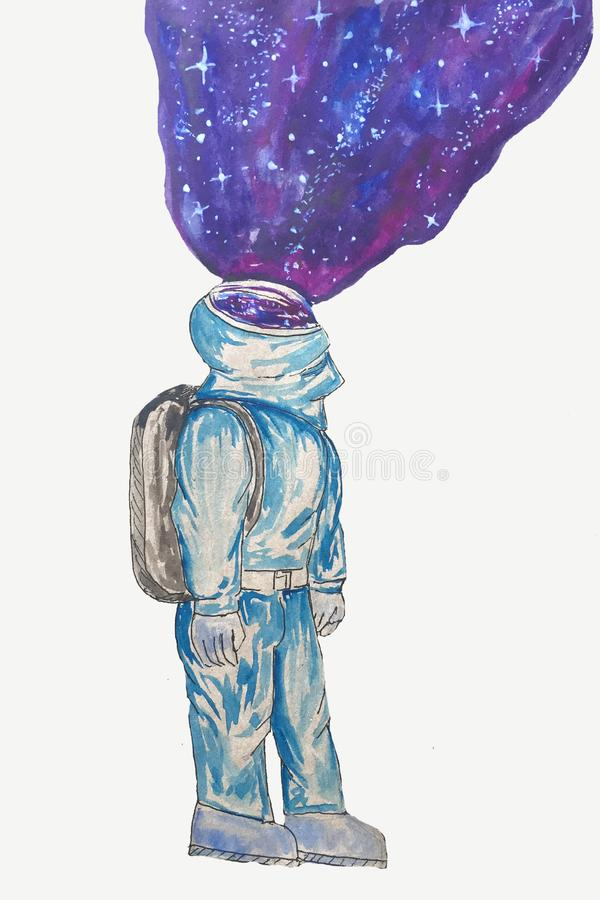 有空间的动画片太空人在白色背景 库存照片