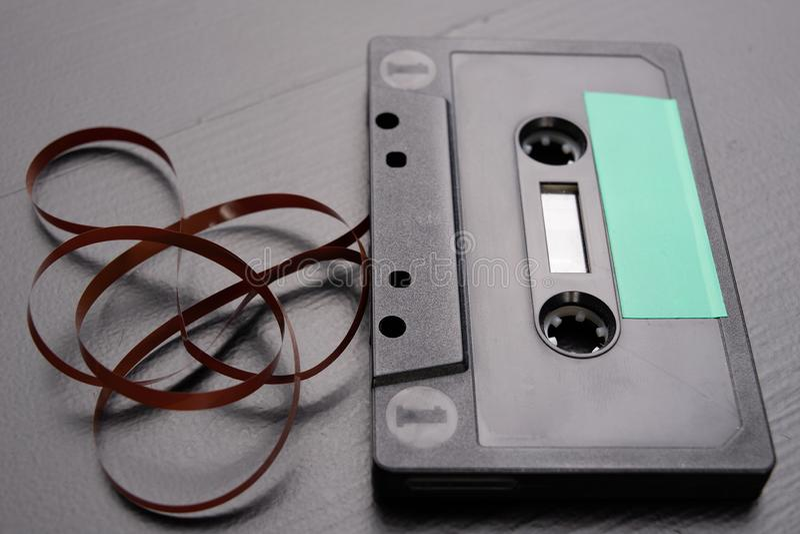 有空间的卡型盒式录音机文本项的 没有描述的卡式磁带 免版税库存照片