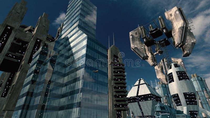 有空间站的未来派科学幻想小说城市 3d翻译 库存例证