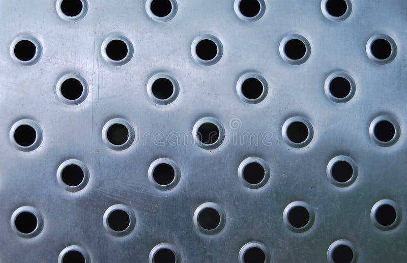 有穿孔的不锈钢板材 库存图片