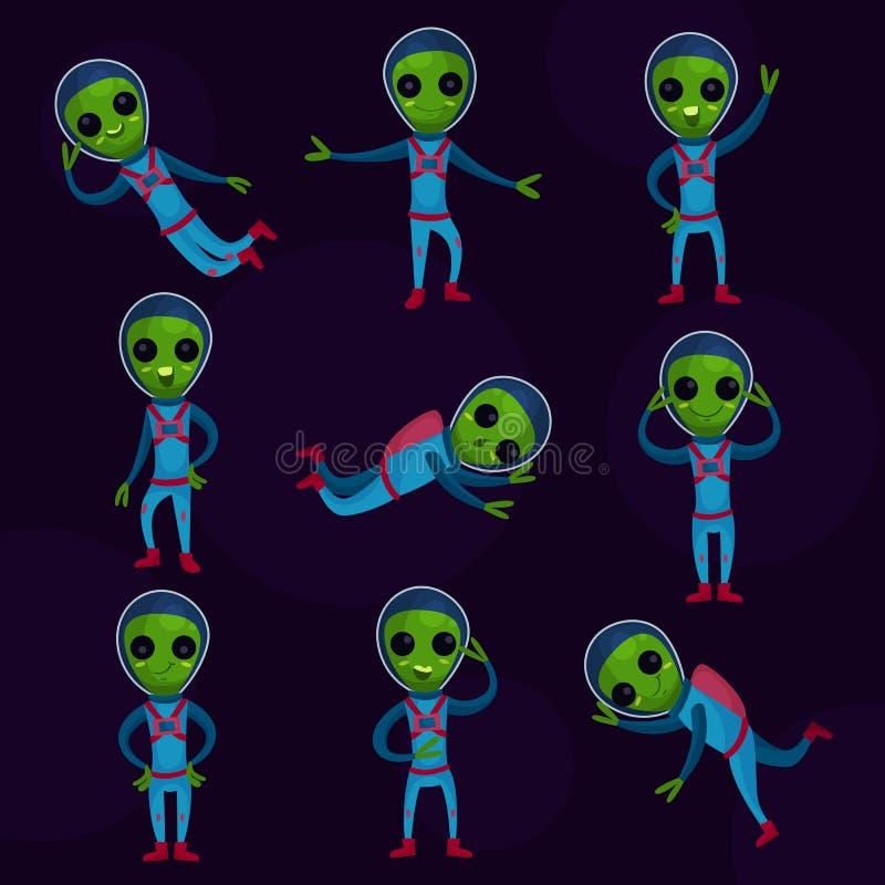 有穿着蓝色航天服的大眼睛的滑稽的绿色外籍人设置了,在另外姿势动画片Illustr的外籍人正面字符 皇族释放例证
