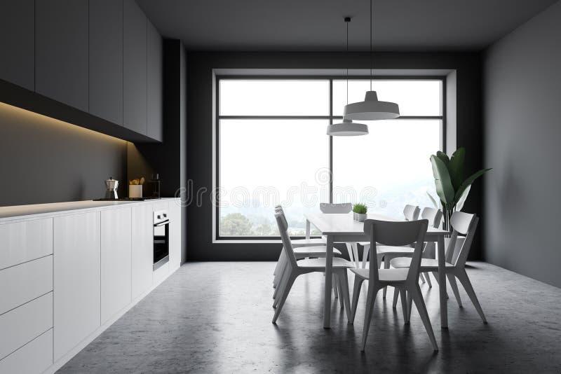 有窗口和桌的灰色厨房 向量例证