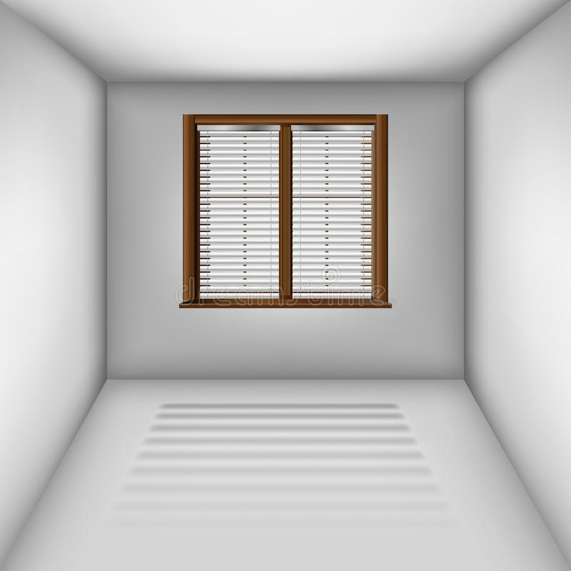 有窗口和窗帘的空的室 向量例证