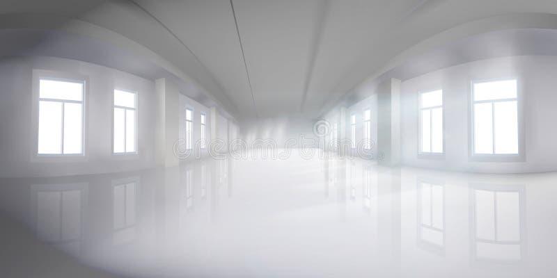 有窗口的空的大厅 r 库存例证