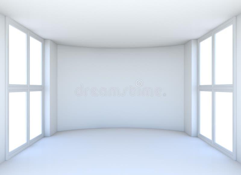 有窗口的空的展览室 库存图片