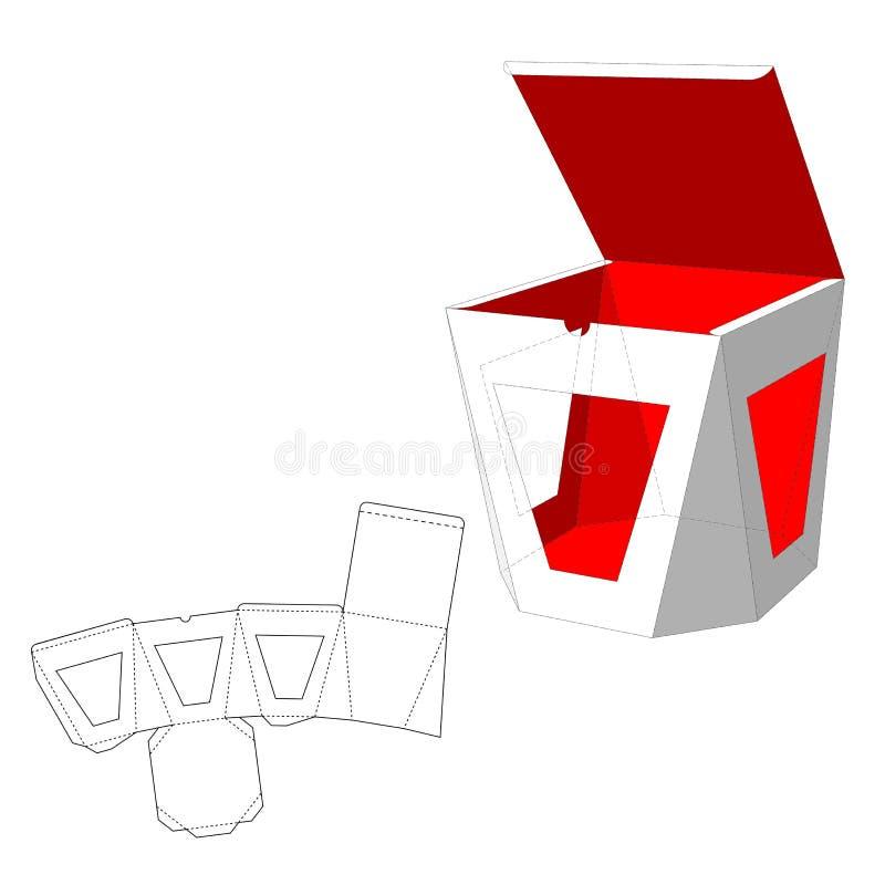 有窗口的箱子冲切了模板 食物、礼物或者其他产品的包装盒 在空白背景 准备为 向量例证