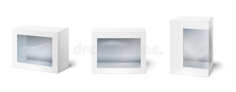 有窗口的箱子 陈列室包装的箱子、窗口在纸板包裹和空的白色包裹大模型3d隔绝了 皇族释放例证