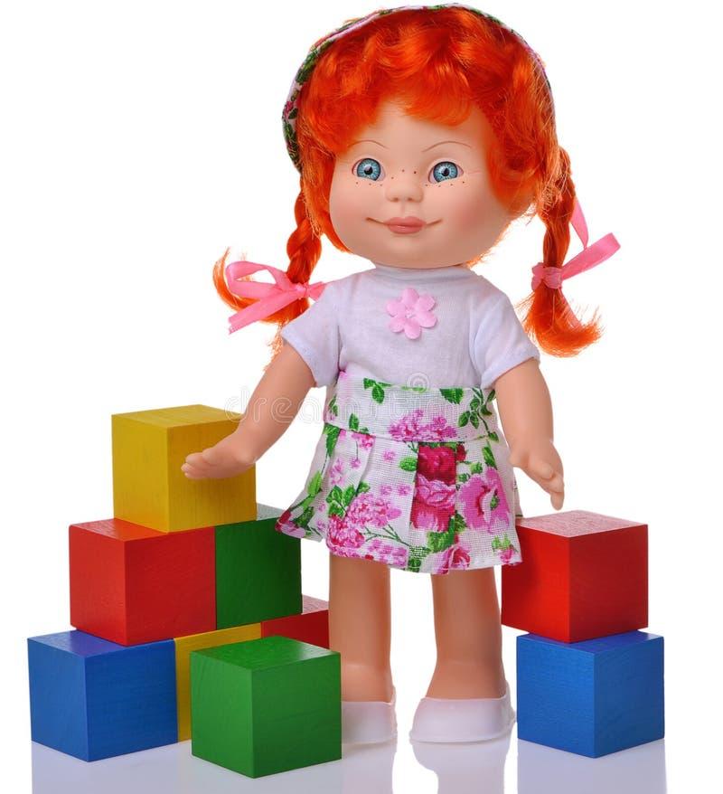 有立方体的姜玩偶 库存图片