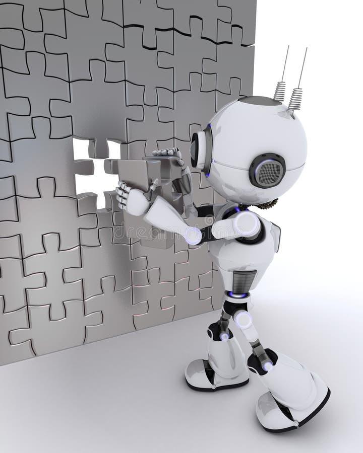 有竖锯的机器人 向量例证