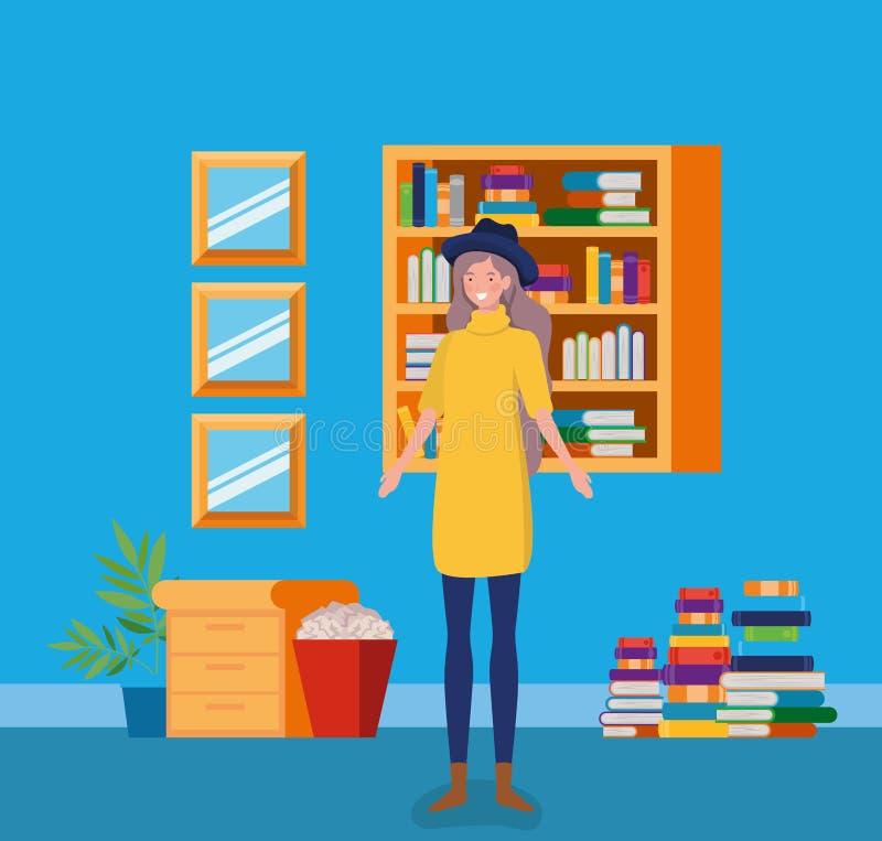 有站立在图书馆里的tophat的年轻女人 库存例证