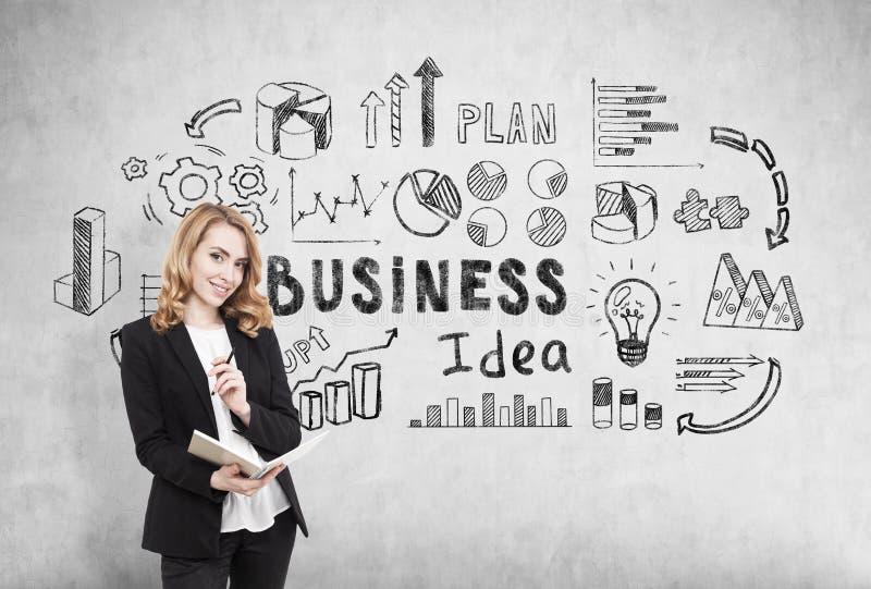 有站立在有企业想法象的一个混凝土墙附近的笔记本的女实业家 免版税图库摄影