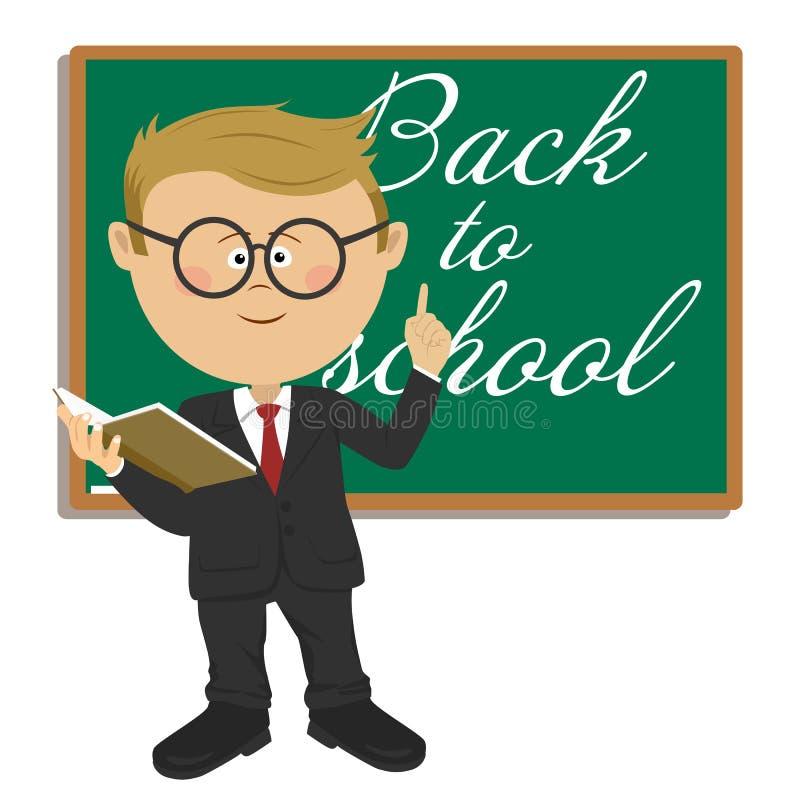 有站立在有回到学校课文的黑板旁边的课本的年轻逗人喜爱的矮小的主要男小学生 库存例证