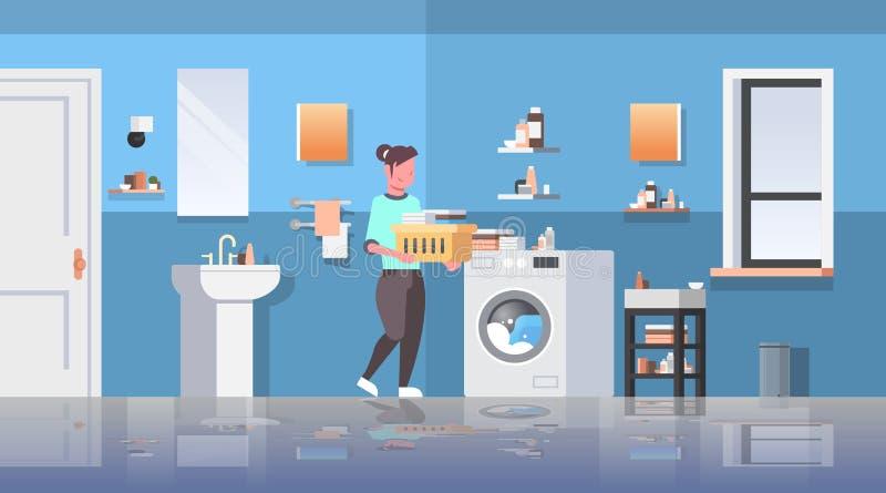 有站立在洗衣机主妇附近的衣裳篮子的妇女做家事现代卫生间内部动画片 皇族释放例证