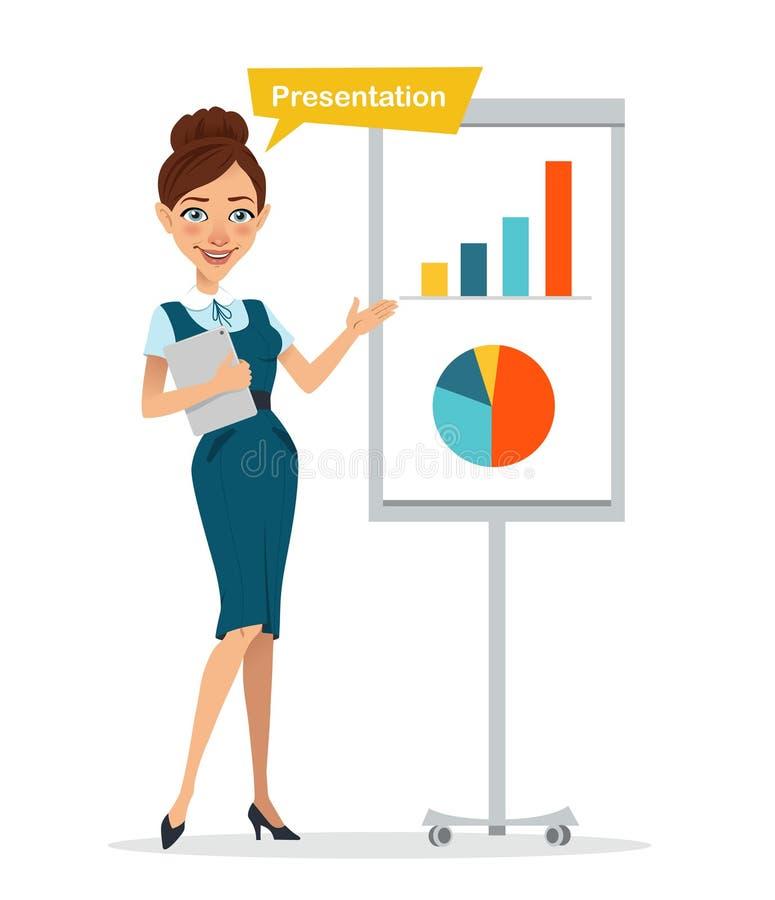 有站立近的flipchart的数字式片剂的妇女 妇女显示介绍 企业字符 向量例证