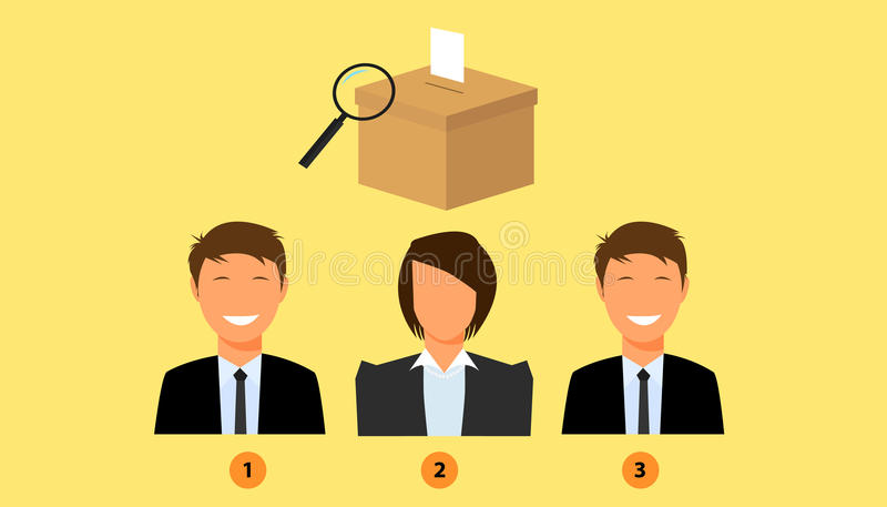 有竞选箱子的投票的候选人作为背景 库存例证