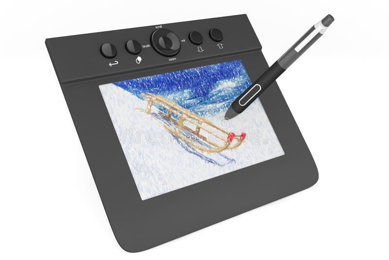 有笔和爬犁画的数字式图形输入板 向量例证