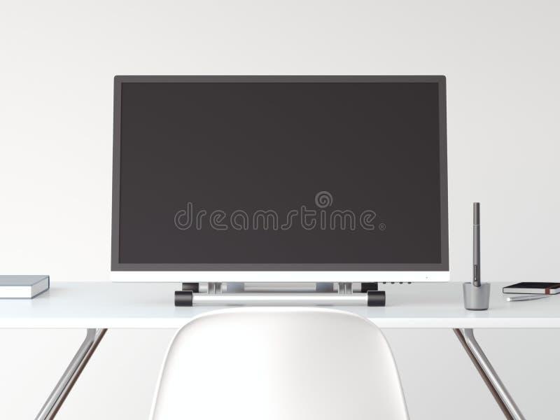 有笔的图画屏幕在白色桌上 3d翻译 皇族释放例证