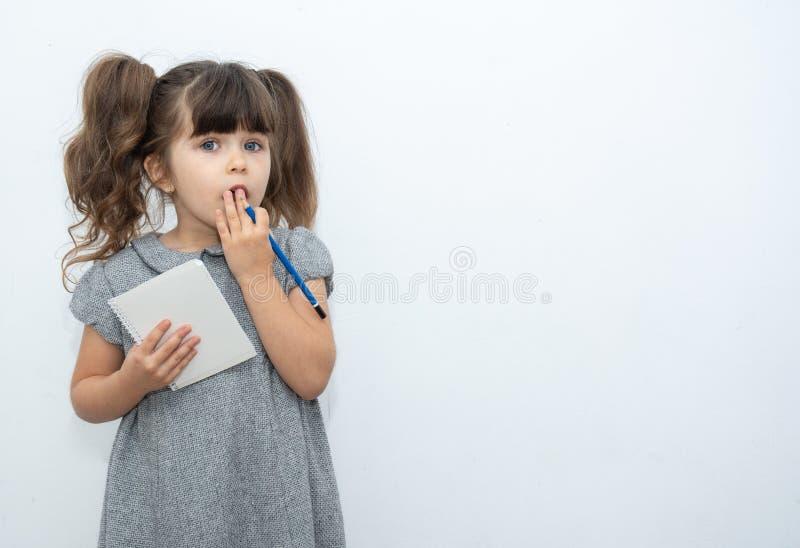 有笔的孩子和在您能写所有文本的空的横幅的白纸书 库存图片