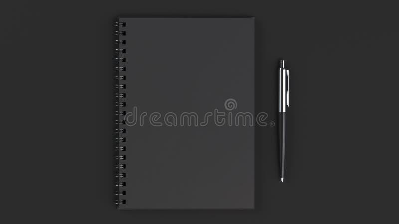 有笔的空白的笔记本在桌上 库存例证