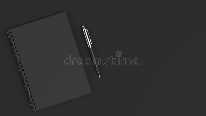 有笔的空白的笔记本在桌上 向量例证