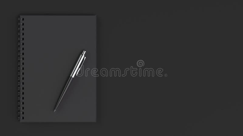 有笔的空白的笔记本在桌上 皇族释放例证
