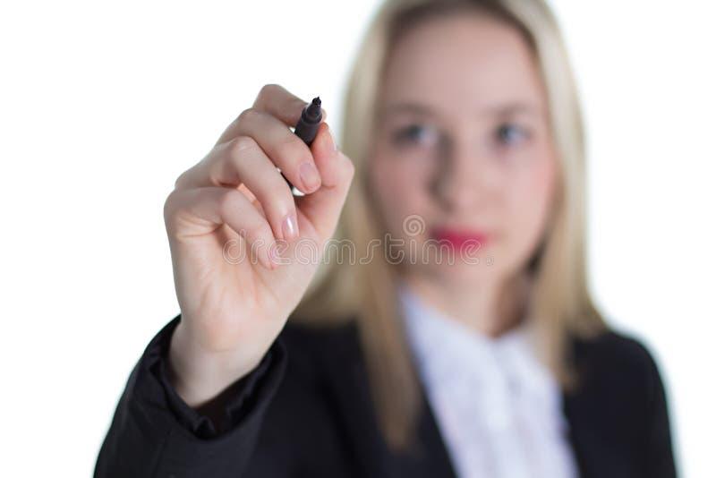 有笔的年轻女实业家 免版税库存图片