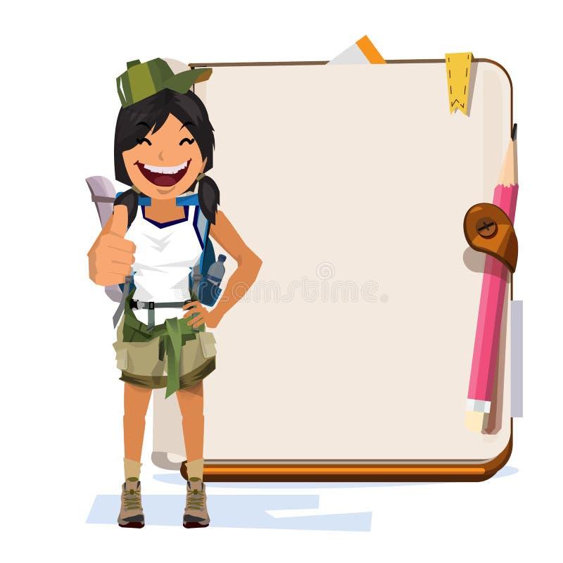有笔记本的冒险妇女介绍的 字符设计 库存例证