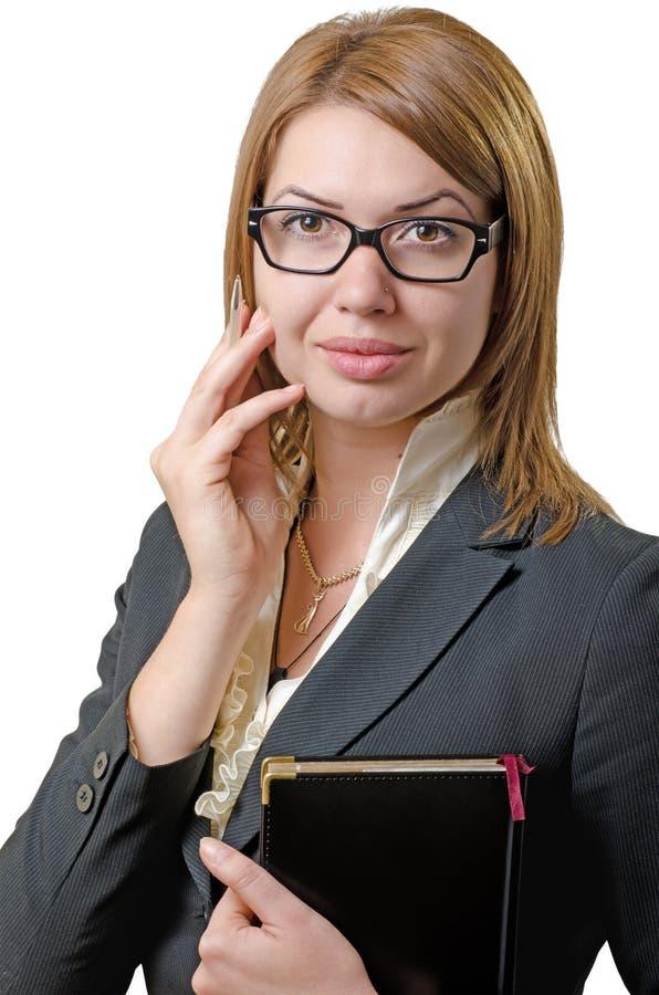 有笔记本的女实业家 免版税图库摄影