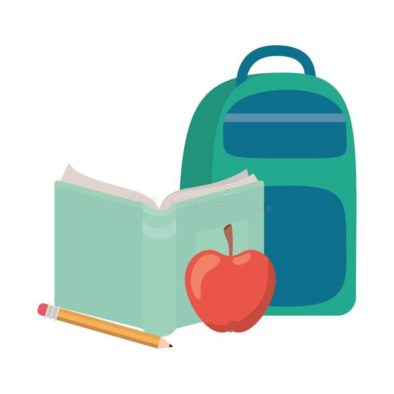 有笔记本的提包学校在白色背景 向量例证