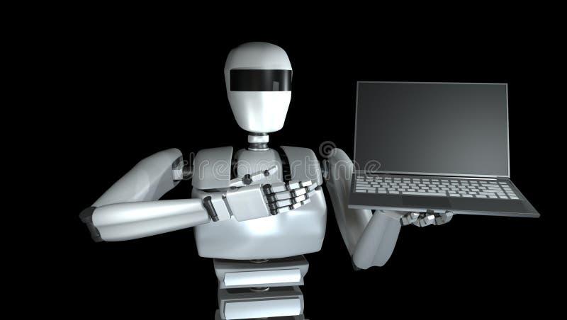 有笔记本的机器人 3d例证 库存例证