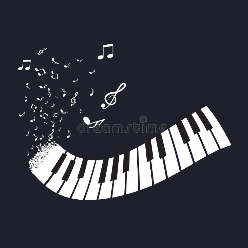 有笔记的平的抽象琴键关于黑背景 向量例证