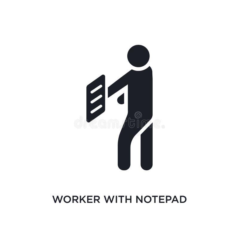 有笔记薄被隔绝的象的工作者 从人概念象的简单的元素例证 有笔记薄编辑可能的商标标志的工作者 皇族释放例证