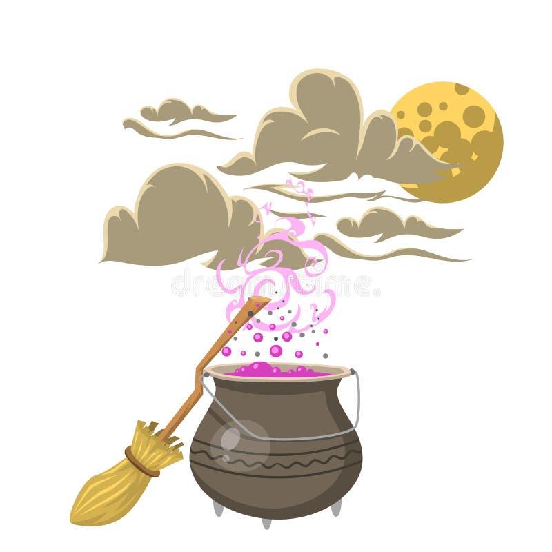 有笤帚把戏标志魔术师和惊奇娱乐幻想狂欢节奥秘工具的特别魔法咒语罐 向量例证