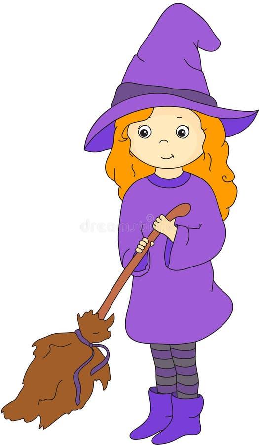 有笤帚的可爱的友好的巫婆 Hallow的传染媒介例证 向量例证
