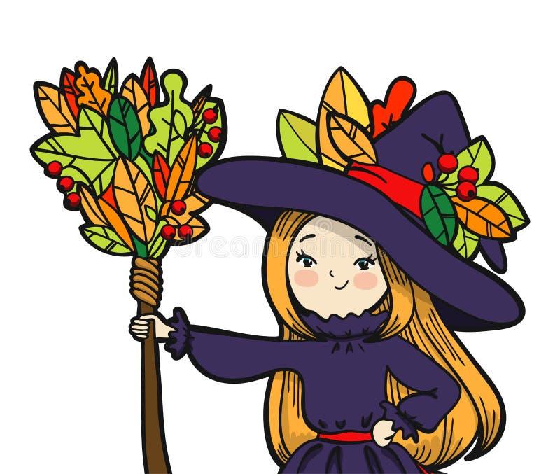 有笤帚的逗人喜爱的矮小的巫婆 向量例证