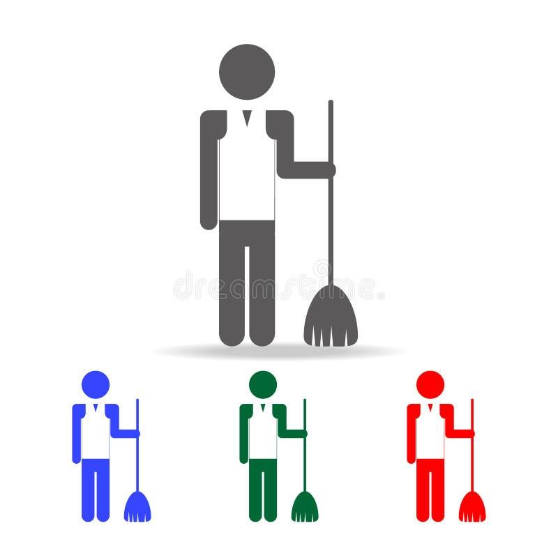 有笤帚象的更加干净的人 人行业的元素在多色的象的 优质质量图形设计象 简单的i 向量例证