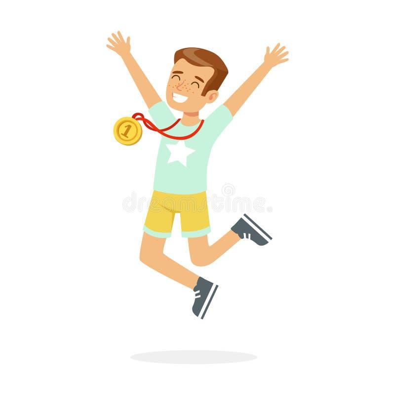 有第一枚地方奖牌的年轻愉快的男孩,庆祝他的金黄奖牌动画片传染媒介例证的孩子 库存例证