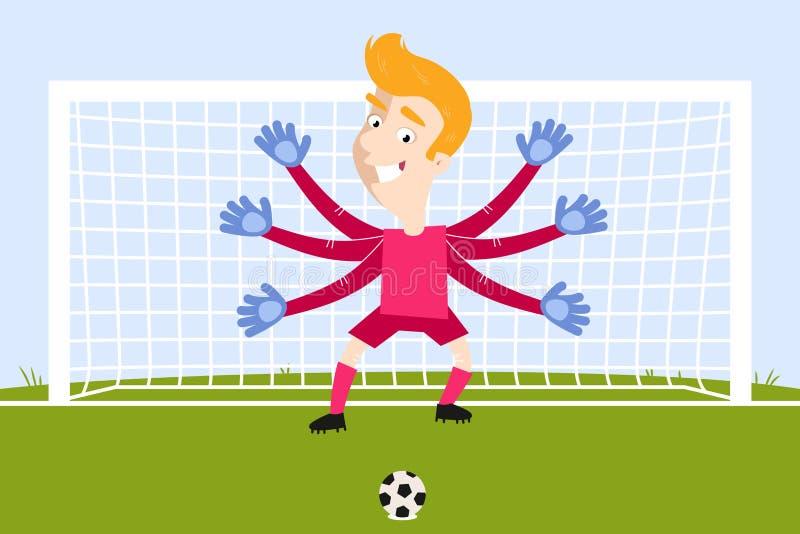 有等待点球的摇摇欲坠胳膊的白肤金发的动画片守门员图片