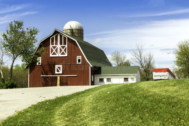 有筒仓的美国国家(地区)农场 库存照片