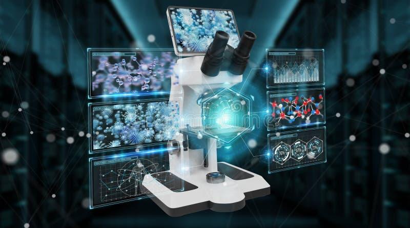 有筛析3D翻译的现代数字式显微镜 库存例证