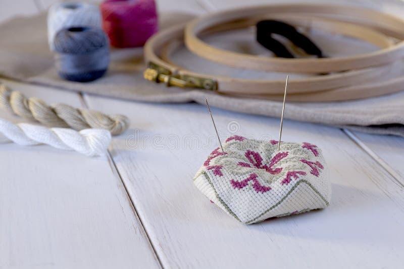 有箍和螺纹的刺绣工具 免版税库存图片