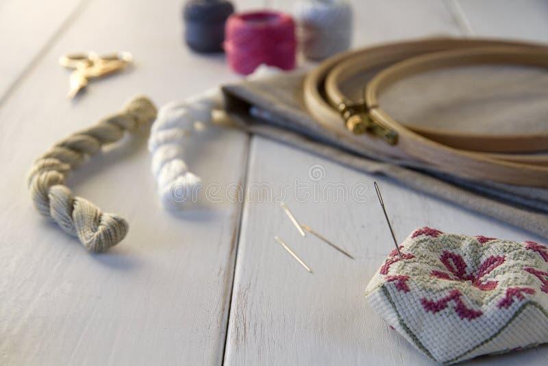 有箍和螺纹的刺绣工具 库存照片