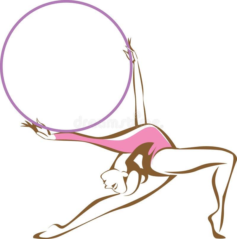 有箍的节奏性体操运动员 库存例证