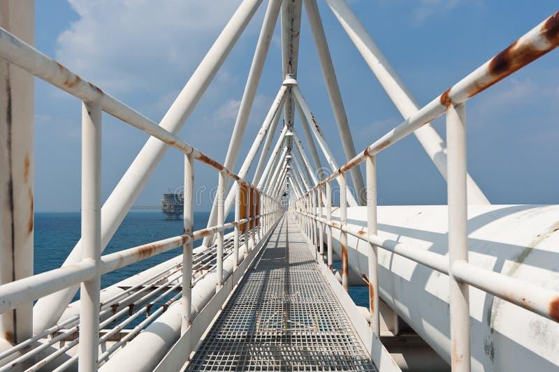 有管子工作的近海桥梁 免版税图库摄影