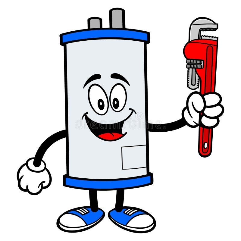 有管扳手的水加热器 向量例证