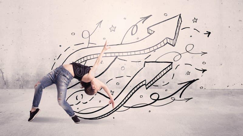 有箭头和星的街道舞蹈家 免版税库存图片