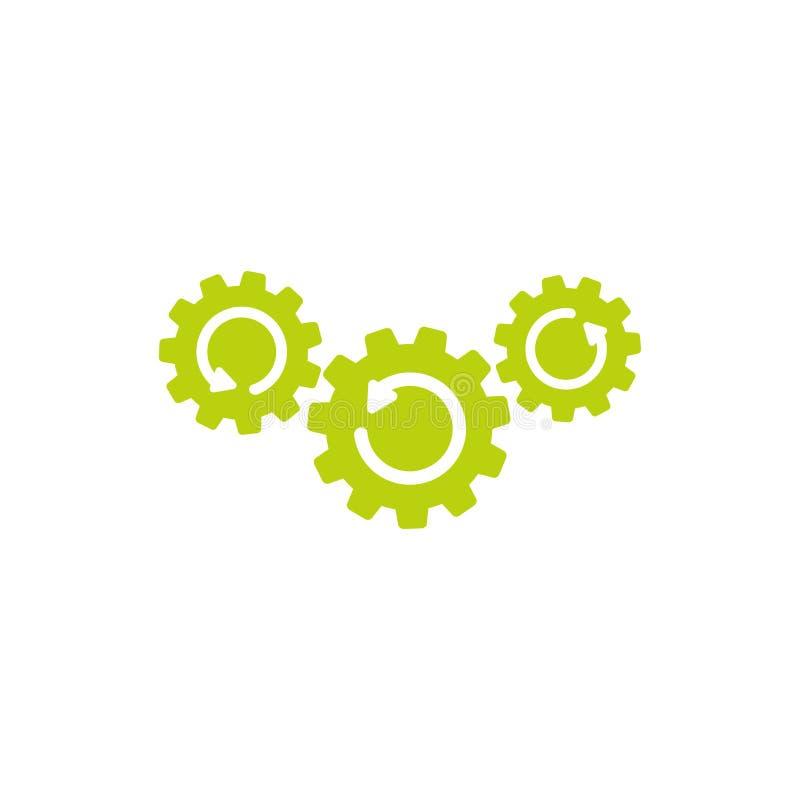 有箭头的三个绿色齿轮 在白色隔绝的平的象 技术或创新的传染媒介例证 库存例证