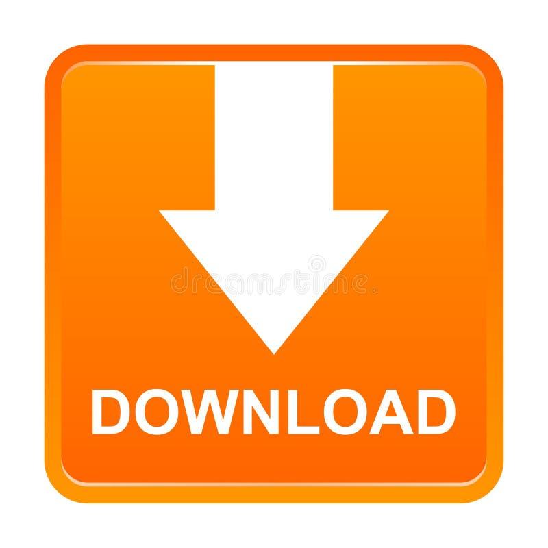有箭头的传染媒介下载正方形橙色按钮 库存例证