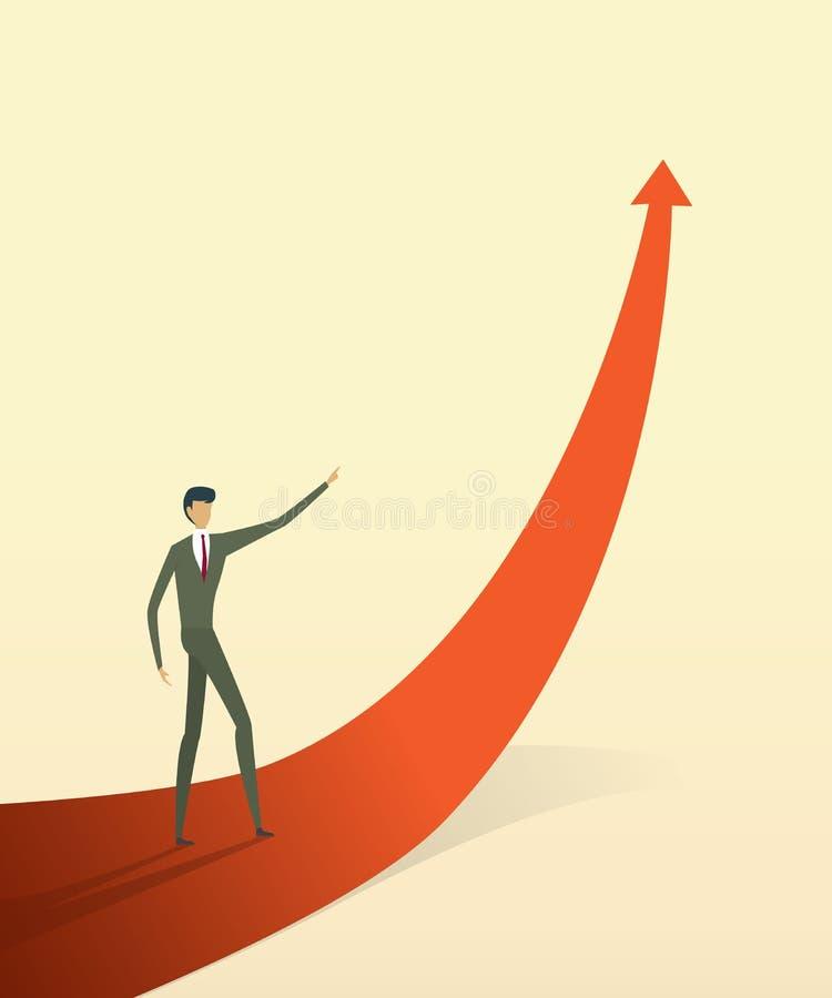 有箭头的商人去道路目标或目标,成长概念的标志 皇族释放例证
